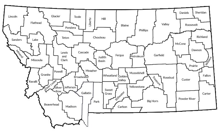 Montana map with county names